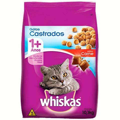 Ração Whiskas Gatos Castrados Sabor Carne 10 kg