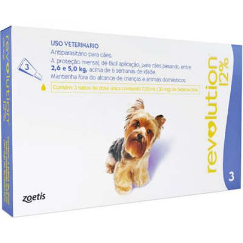 Revoluton 12% para cães de 2,5 à 5,0 kg