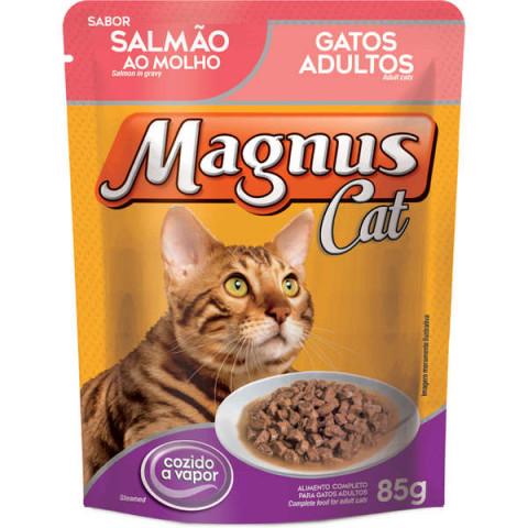Ração Úmida Magnus Cat Sachê Salmão ao Molho para Gatos Adultos 85g