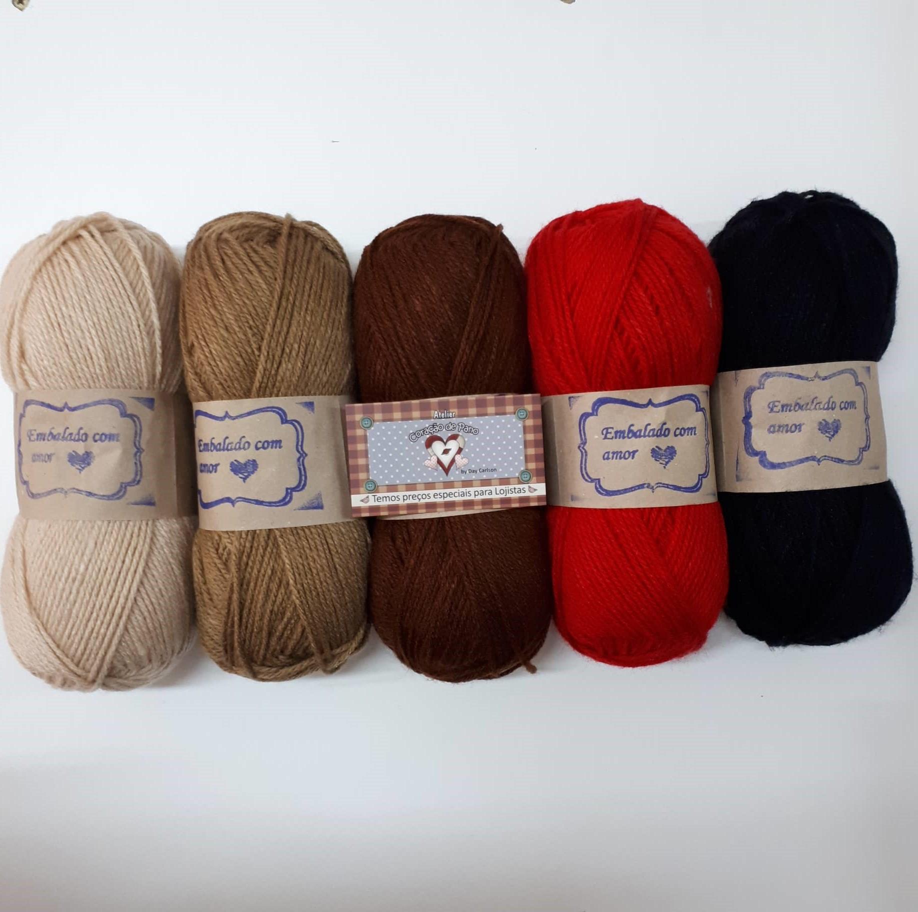 Lã Multiuso - 5 novelos de lã - 100gr cada (5cores)