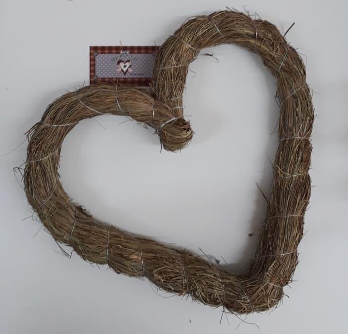 Guirlanda de Palha Coração - 37 cm