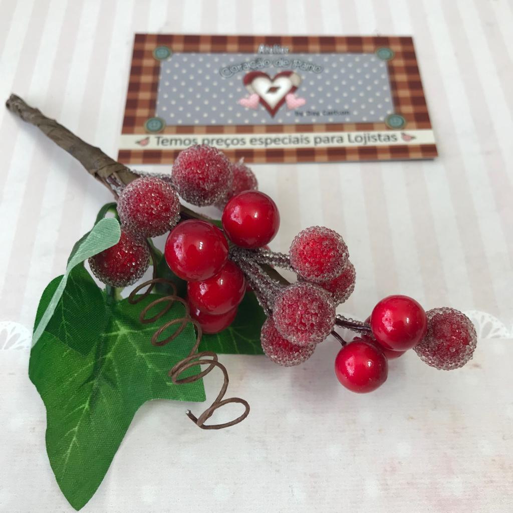 Folhagens de Natal II - Cerejas 15cm