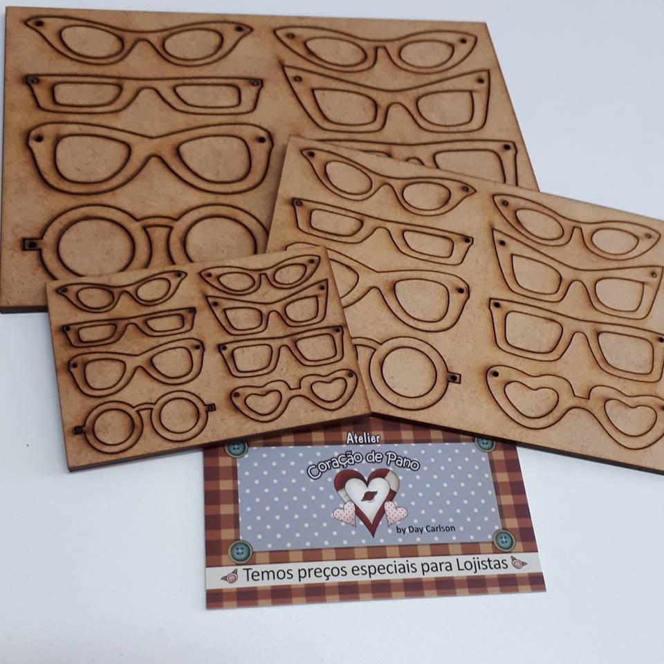 3 Placas com 8 Óculos em MDF - P, M e G
