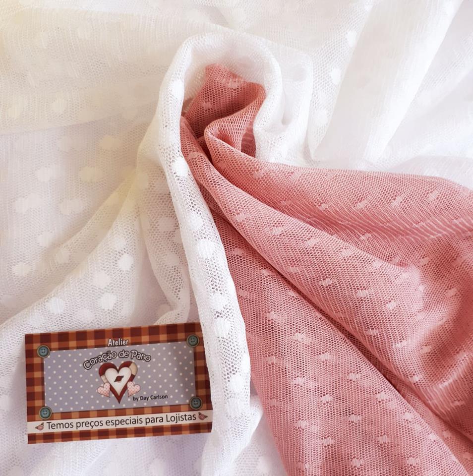 KIT Tule de renda - branco e rose com bolinha