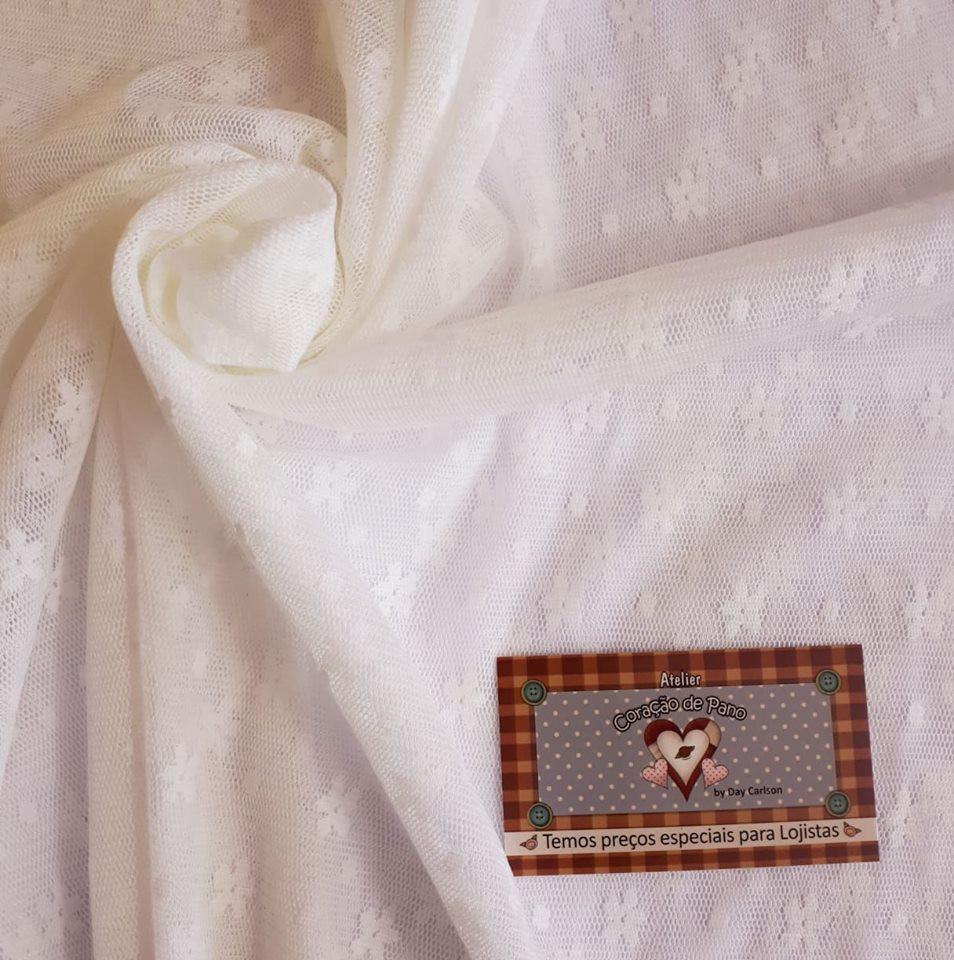 Tule de renda - Flores Branca