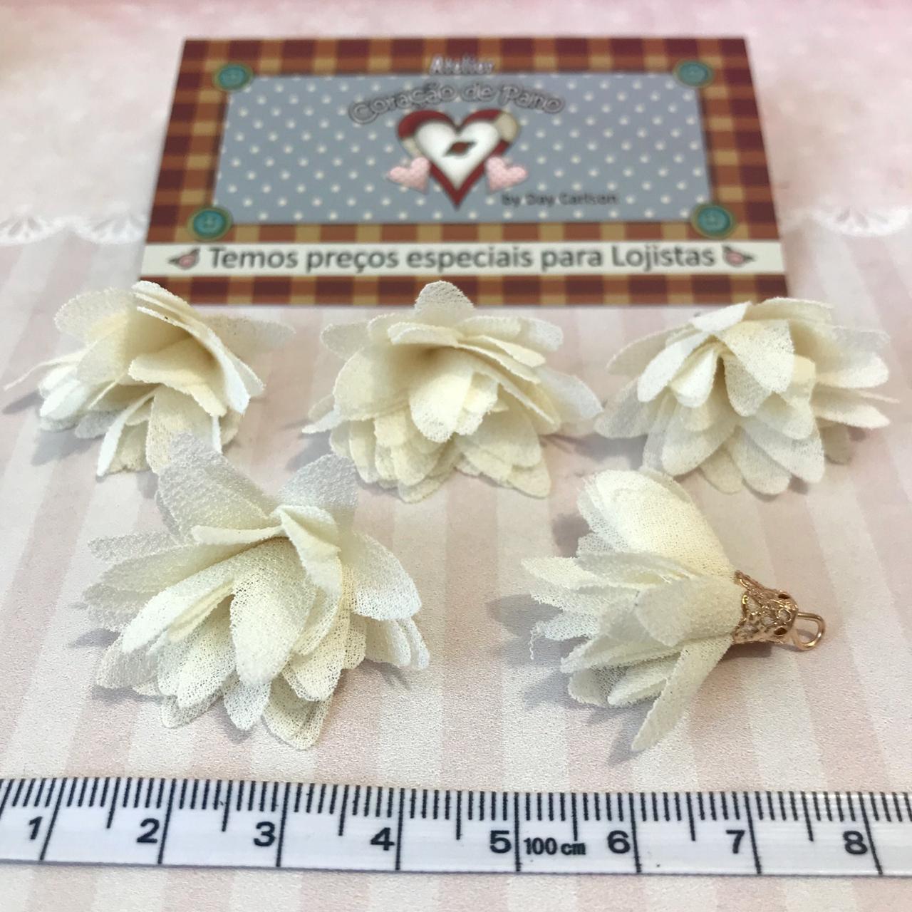 Mini Pingente Flor Creme 2,5 x 3 cm - (5UN)