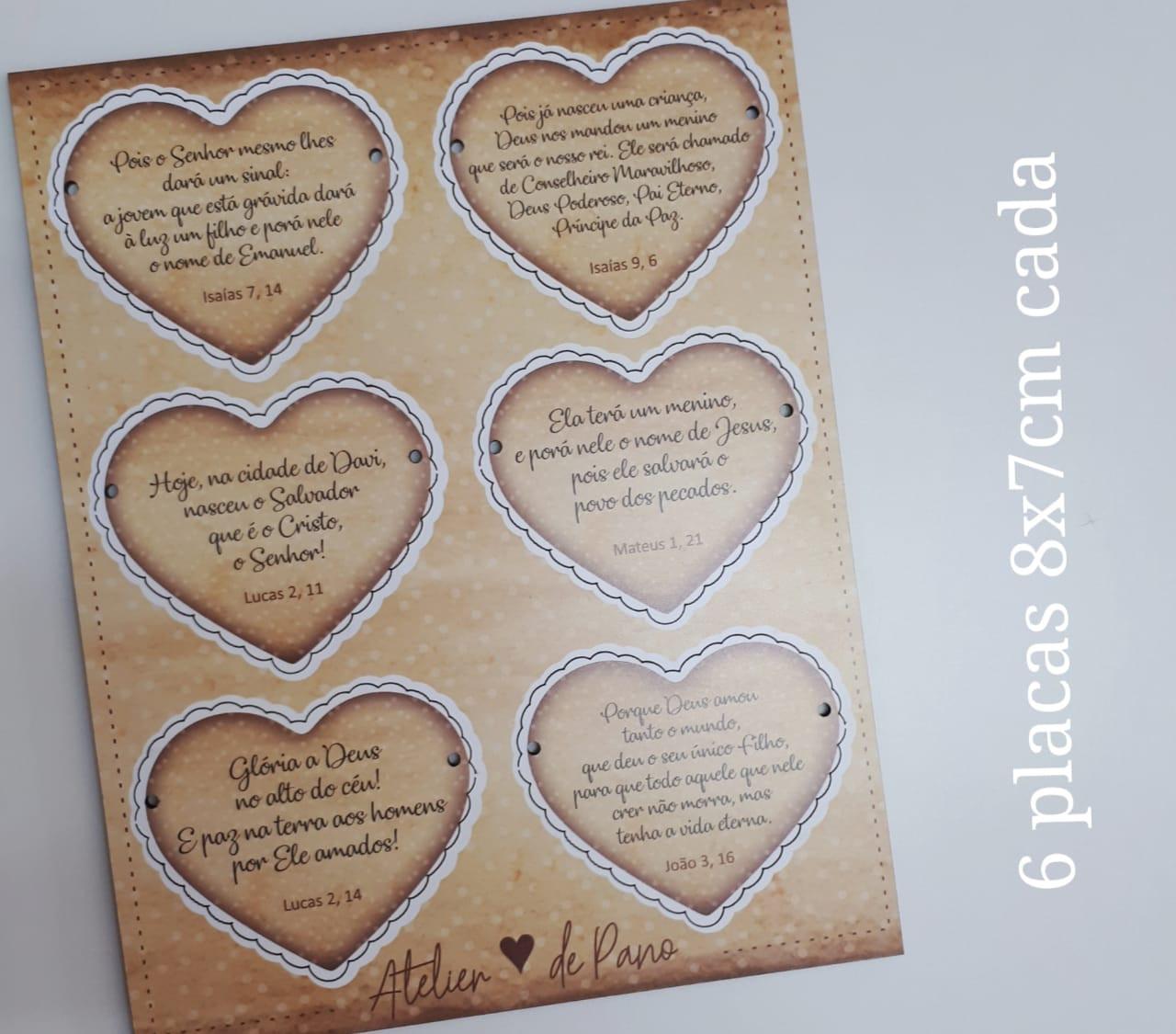 Tag Decorativa - 6 Plaquinhas Coração (8 x 7 cm)