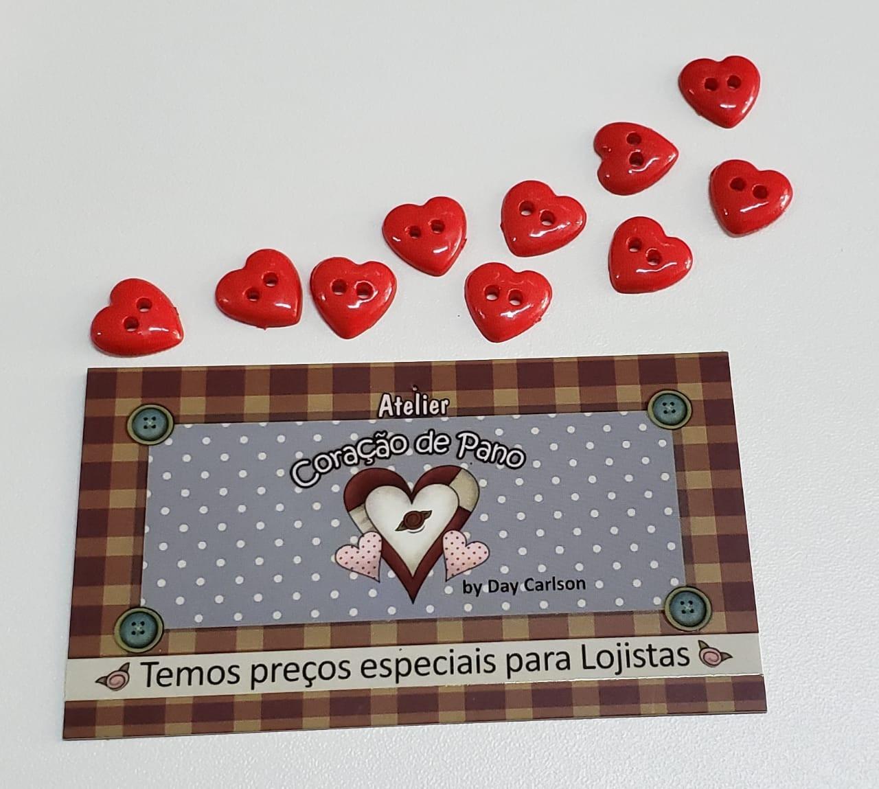 Botão de Coração Vermelho - 10 unidades (1 cm)