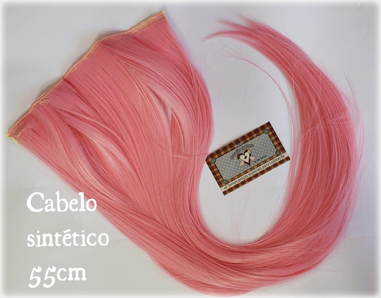 Cabelo Sintético Liso - Rosa Para bonecas (666-2)
