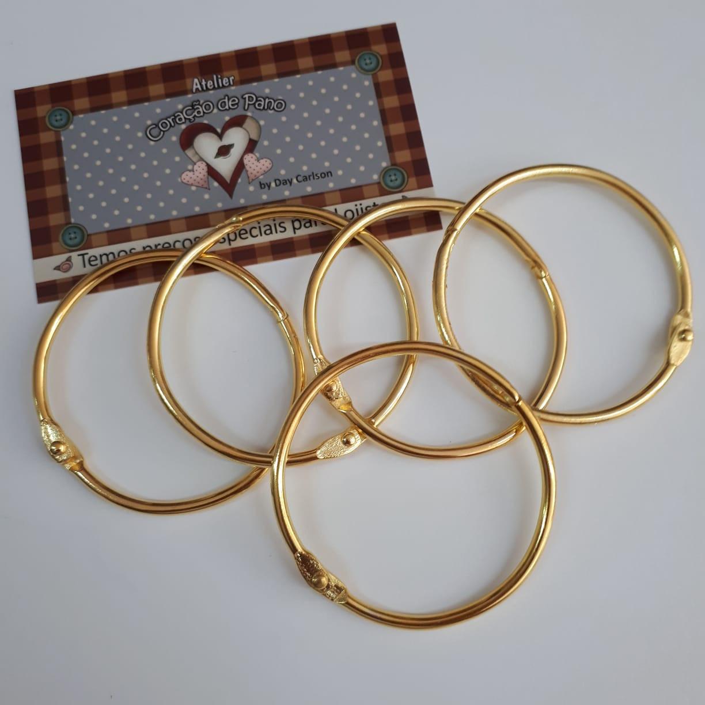 Argola Mosquetão Dourada - 5 un (5,5 cm)