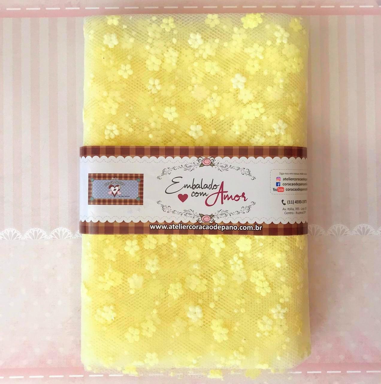 TULE IMPORTADO V - Amarelo Flor - 1mt x 2,40cm