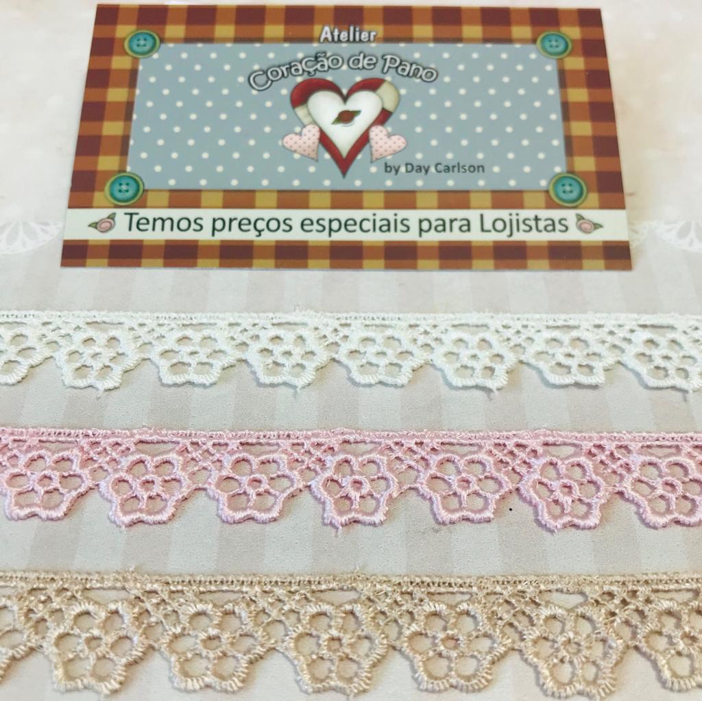 Kit de Renda 3 cores - Creme, Rosa e Chocolate III - (1,4 cm x 1 mt)