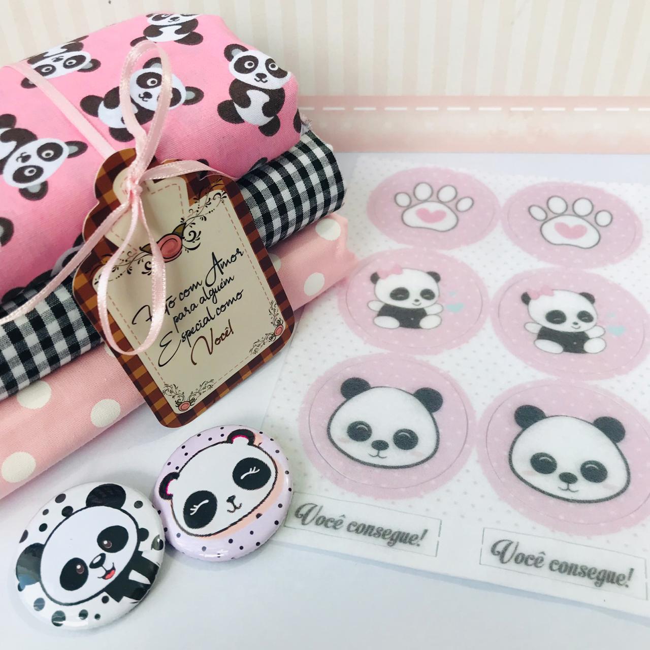 Kit Coordenado Panda - Tecido, Tag e Botton Variável