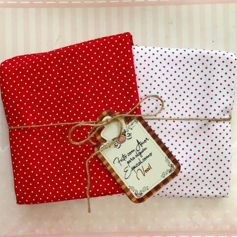 Kit Coordenado Natal XI - Poá Vermelho e Branco 0,50 x 1,50 MT