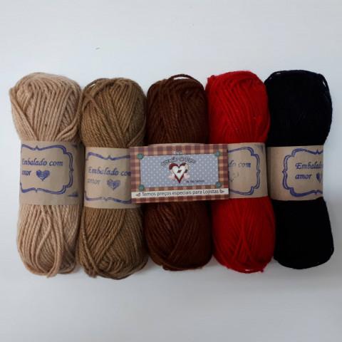 Lã Multiuso - 5 novelos de lã - 40gr cada (5cores)