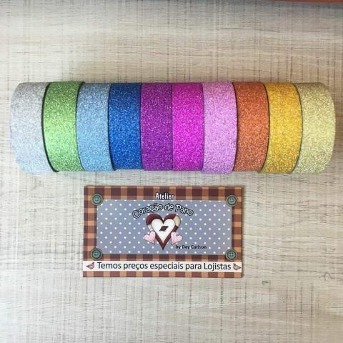 Durex Colorido com glíter (10 rolos)