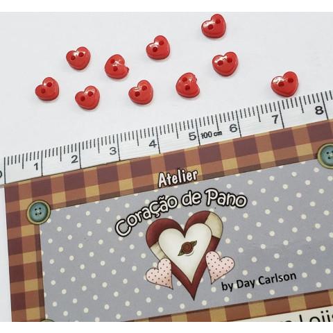 Botão (Mini mini) de Coração Vermelho - 10 unidades