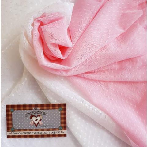 KIT Tule de renda - branco e rosa com bolinha