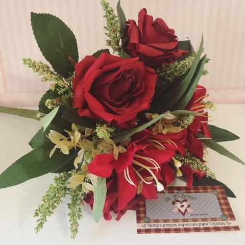 Flor Buquê Permanente - Rosas Vermelhas