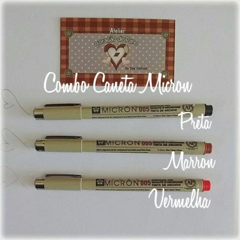 Combo Caneta Micron 005 - 3 cores Para Rostinho de Bonecas