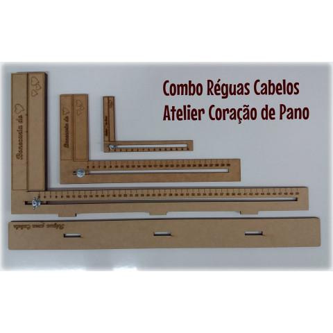 Combo Régua de Cabelo - 15cm, 30cm e 50cm