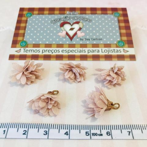 Mini Pingente Flor Rose 1 x 2 cm - (5UN)