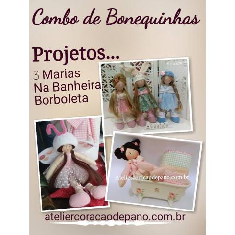 Projeto Digital - Combo 3 projetos - Bonequinhas