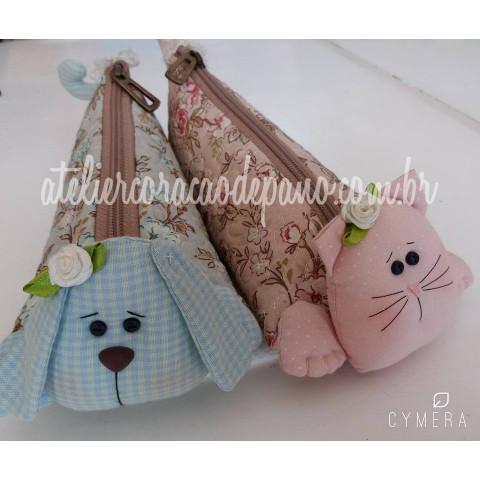 Projeto VIA CORREIOS - Estojo Fofo Pet's - Gato e Cachorro