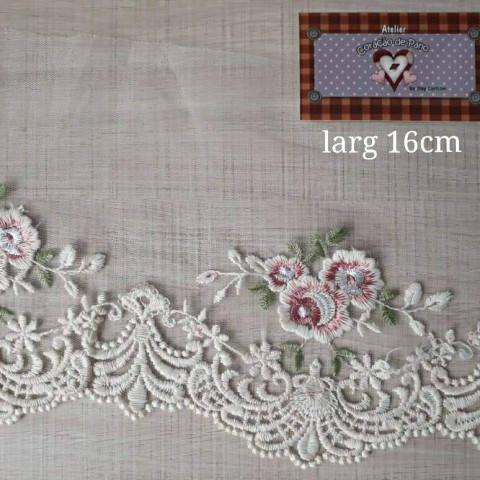 Renda Larga com Flor Rosa (16 cm x 1 mt)