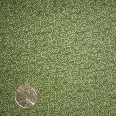 Tecido Estampado - 0,50cm x 1,4cm - Verde Circulos