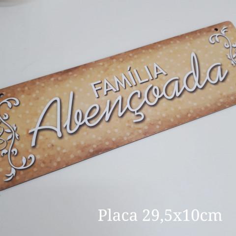 Placa Natal - Familia Abençoada (29,5 x 10 cm)