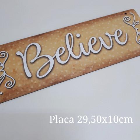 Placa Natal - Believe (29,5 x 10 cm)