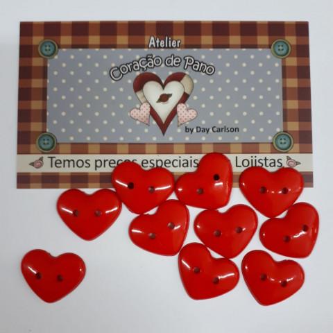 Botão de Coração Vermelho - 10 unidades (2 cm)