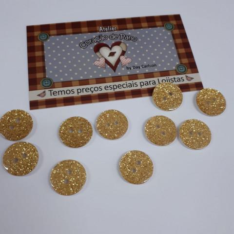 Botão com Glitter - Amarelo (10 unidades)
