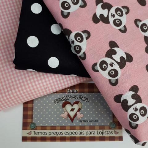 Kit Tecido Coordenado Panda - 3 cortes - Xadrez Rosa