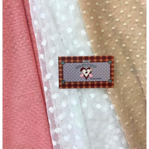 KIT TULE DE RENDA I - 3 cores - Rose, branco e Nude