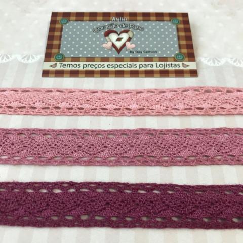 Kit de Renda 3 cores - Tons de Rosa (2 cm x 1 mt)