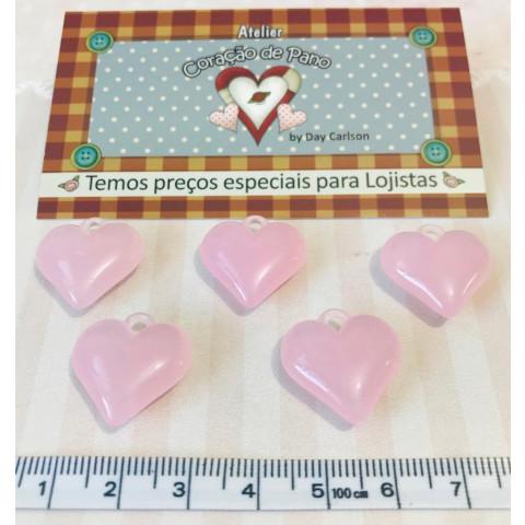 Mini Pingente Coração Rosa 2 cm - (5UN)