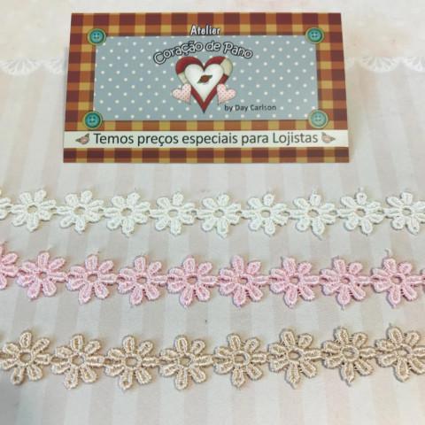 Kit de Renda 3 cores - Branco, Rosa e Chocolate I - (1,3 cm x 1 mt)