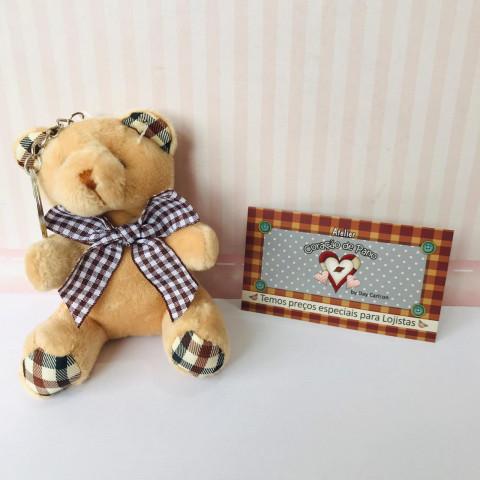Chaveiro Urso Xadrez Bege  - 10 x 6,5cm