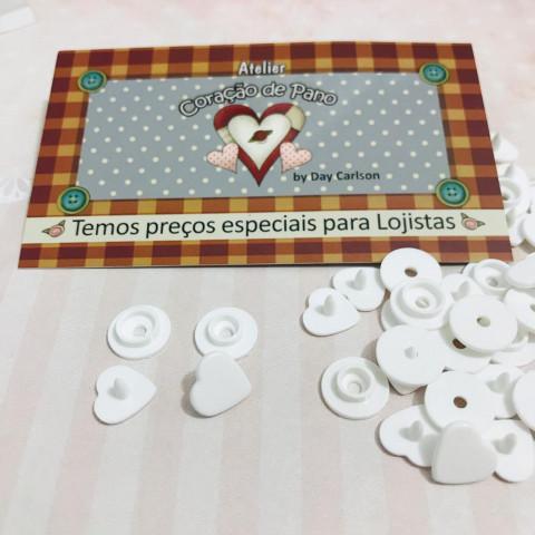 Botão de Pressão Plástico Ritas - Coração Branco 10unan