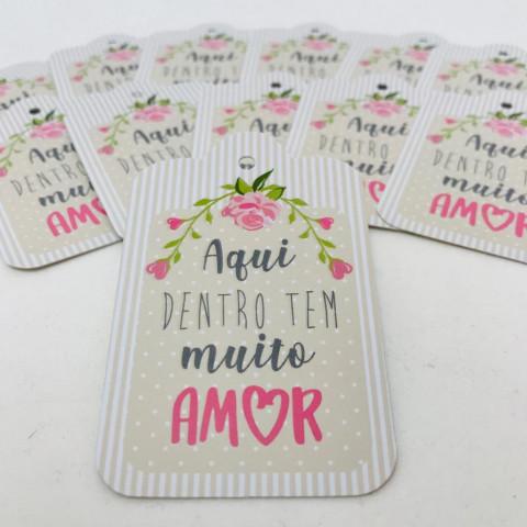 Tag Novo AMARELO - Aqui dentro tem muito Amor - 12 unid
