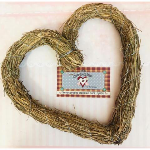 Guirlanda de Palha Coração - 22 cm