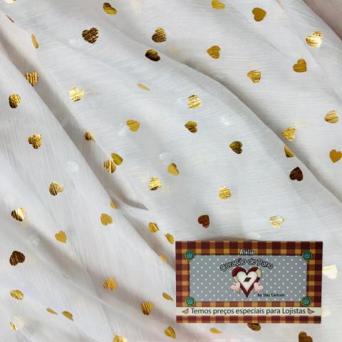 Voal - Branco e Coração Dourado - 1mt