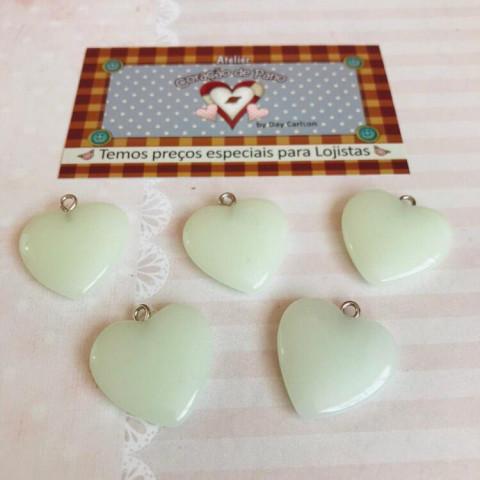Pingente Coração Branco Leitoso - (5UN)