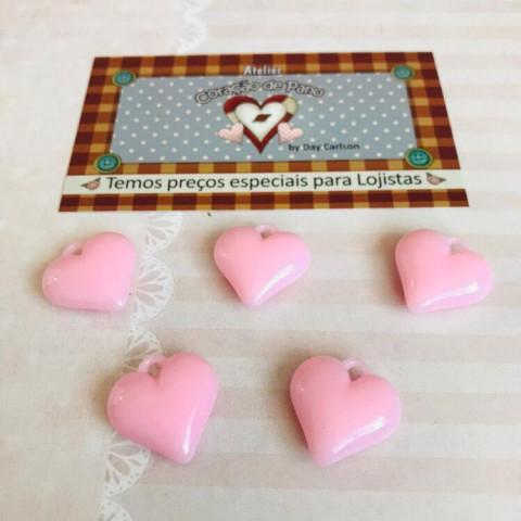 Mini Pingente Coração 2 cm - ROSA CANDY (5UN)