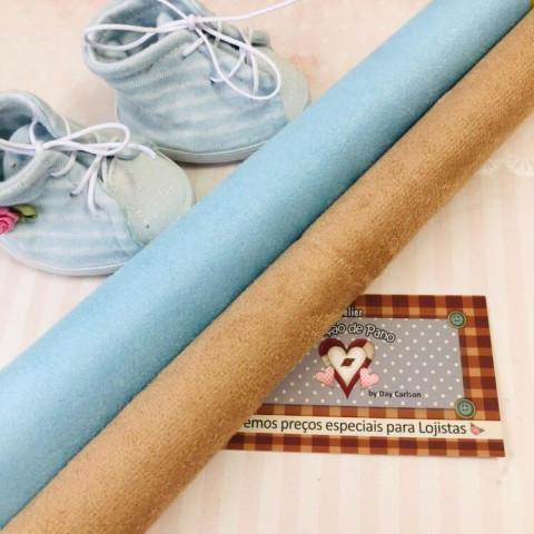 Camurça para Sapatos - 2 CORTES (50 X 34) Azul e Caramelo Claro