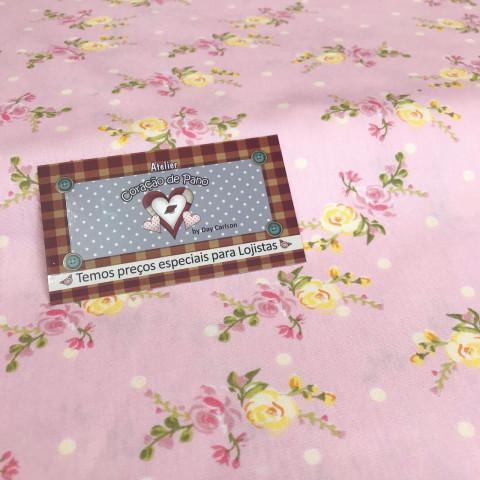 Tecido Bonecaria do Coração 0,50 MT - Floral G ROSA