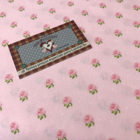 Tecido Bonecaria do Coração 0,50 MT - Floral P ROSA