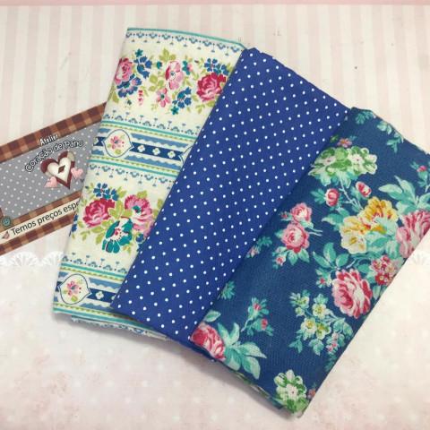 Kit Coordenado com Tecidos TILDA I - Azul